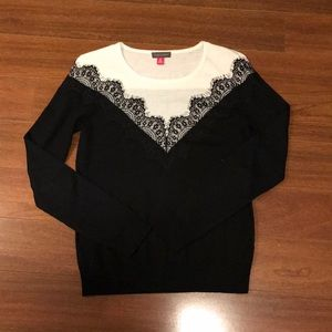 Colorblock lace detail sweater